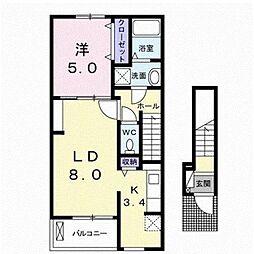 伊予鉄道高浜線 衣山駅 バス6分 西長戸下車 徒歩9分の賃貸アパート 2階1LDKの間取り