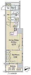東京メトロ有楽町線 新富町駅 徒歩1分の賃貸マンション 8階1LDKの間取り