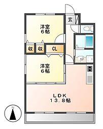 愛知県名古屋市千種区日和町2丁目の賃貸アパートの間取り