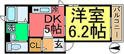 東京都江戸川区中央2丁目の賃貸アパートの間取り