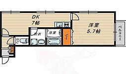 S.Fileld Noe 2階1DKの間取り