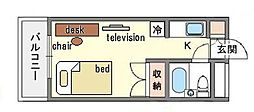家具・家電付き ラ・レジダンス・ド・天神 A[5階]の間取り