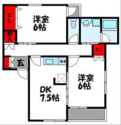 コーポ千田[2階]の間取り
