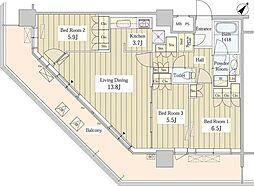 JR総武線 東中野駅 徒歩1分の賃貸マンション 29階3LDKの間取り