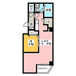 金太郎ヒルズ243松が谷 5階1LDKの間取り