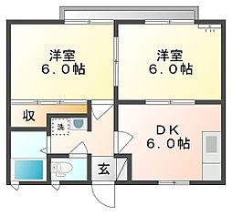岡山県倉敷市宮前の賃貸アパートの間取り