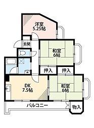 福岡県北九州市八幡西区光明1丁目の賃貸マンションの間取り