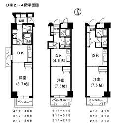 メゾン・ド・ナリヤ B棟2〜4階[210号室]の間取り