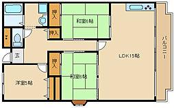 兵庫県加古川市平岡町西谷の賃貸マンションの間取り