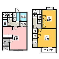 [テラスハウス] 静岡県磐田市上大之郷 の賃貸【/】の間取り