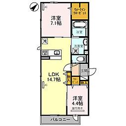 (仮)D-room北区百舌鳥本町 2階2LDKの間取り