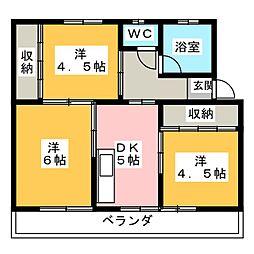 西畑コーポ[3階]の間取り