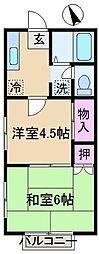 東京都北区上中里2丁目の賃貸アパートの間取り