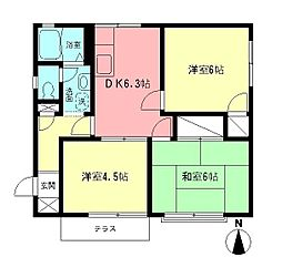 神奈川県座間市緑ケ丘1丁目の賃貸アパートの間取り