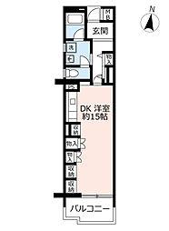 UR高の原駅西 3階1DKの間取り