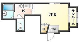 京阪本線 滝井駅 徒歩3分の賃貸アパート 1階1Kの間取り