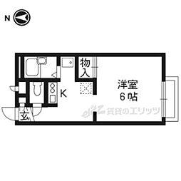 阪急京都本線 洛西口駅 4kmの賃貸アパート 2階ワンルームの間取り