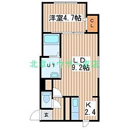 (仮)北14東1 B棟[2階]の間取り