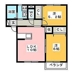 愛知県岡崎市中園町字宮西の賃貸アパートの間取り