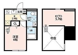 クレスト平塚[205号室]の間取り