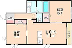 阪急箕面線 桜井駅 徒歩12分の賃貸マンション 1階2LDKの間取り