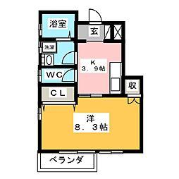 愛知県岡崎市赤渋町字田中の賃貸アパートの間取り