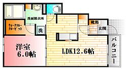 亀山1丁目アパートB 1階1LDKの間取り