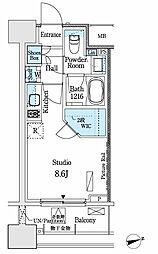都営三田線 神保町駅 徒歩12分の賃貸マンション 8階ワンルームの間取り