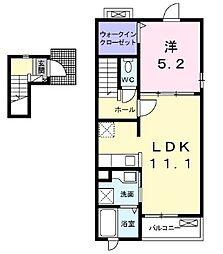 プレッソ246 2階1LDKの間取り