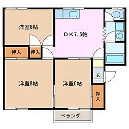 パストラル A棟[1階]の間取り