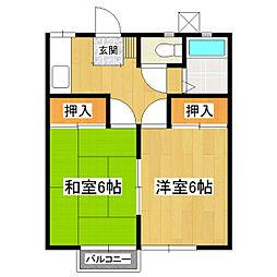 茨城県つくば市松代1丁目の賃貸アパートの間取り