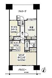 京成千原線 千葉中央駅 徒歩5分の賃貸マンション 9階2LDKの間取り