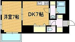 京都府京都市山科区椥辻東浦町の賃貸マンションの間取り