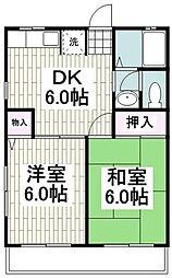 シティハイムセルティア 1階2DKの間取り