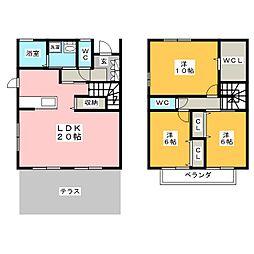 [一戸建] 愛知県岡崎市上六名3丁目 の賃貸【愛知県 / 岡崎市】の間取り