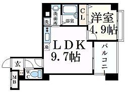 JR東海道・山陽本線 摂津本山駅 徒歩9分の賃貸マンション 3階1LDKの間取り
