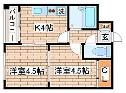 兵庫県神戸市須磨区平田町5丁目の賃貸マンションの間取り