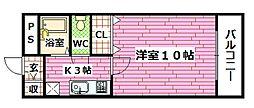 広島県広島市安芸区矢野西2丁目の賃貸アパートの間取り