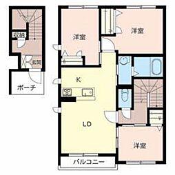 大阪府富田林市五軒家1丁目の賃貸アパートの間取り