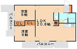光第6ビル[2階]の間取り