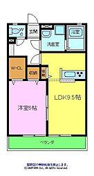 エスポワール2A棟 2階1LDKの間取り