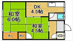 兵庫県宝塚市中筋9丁目の賃貸アパートの間取り