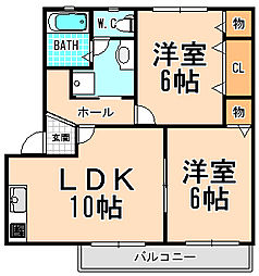兵庫県宝塚市長尾町の賃貸アパートの間取り