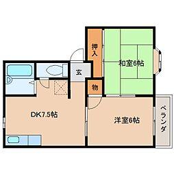 奈良県五條市今井2丁目の賃貸アパートの間取り