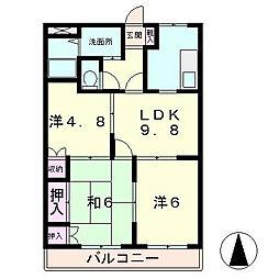 滋賀県草津市追分2丁目の賃貸マンションの間取り