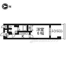 京都地下鉄東西線 烏丸御池駅 徒歩7分の賃貸マンション 5階1Kの間取り