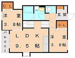 メゾンソレイユ3[2階]の間取り