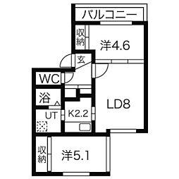 札幌市営南北線 澄川駅 徒歩11分の賃貸マンション 1階2LDKの間取り
