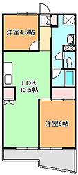 シオヤハイツ[304号室]の間取り
