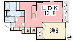 兵庫県姫路市広畑区蒲田3丁目の賃貸アパートの間取り